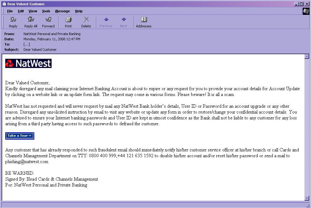 図3 英NatWest銀行からの警告文かのように詐称されたフィッシングメール