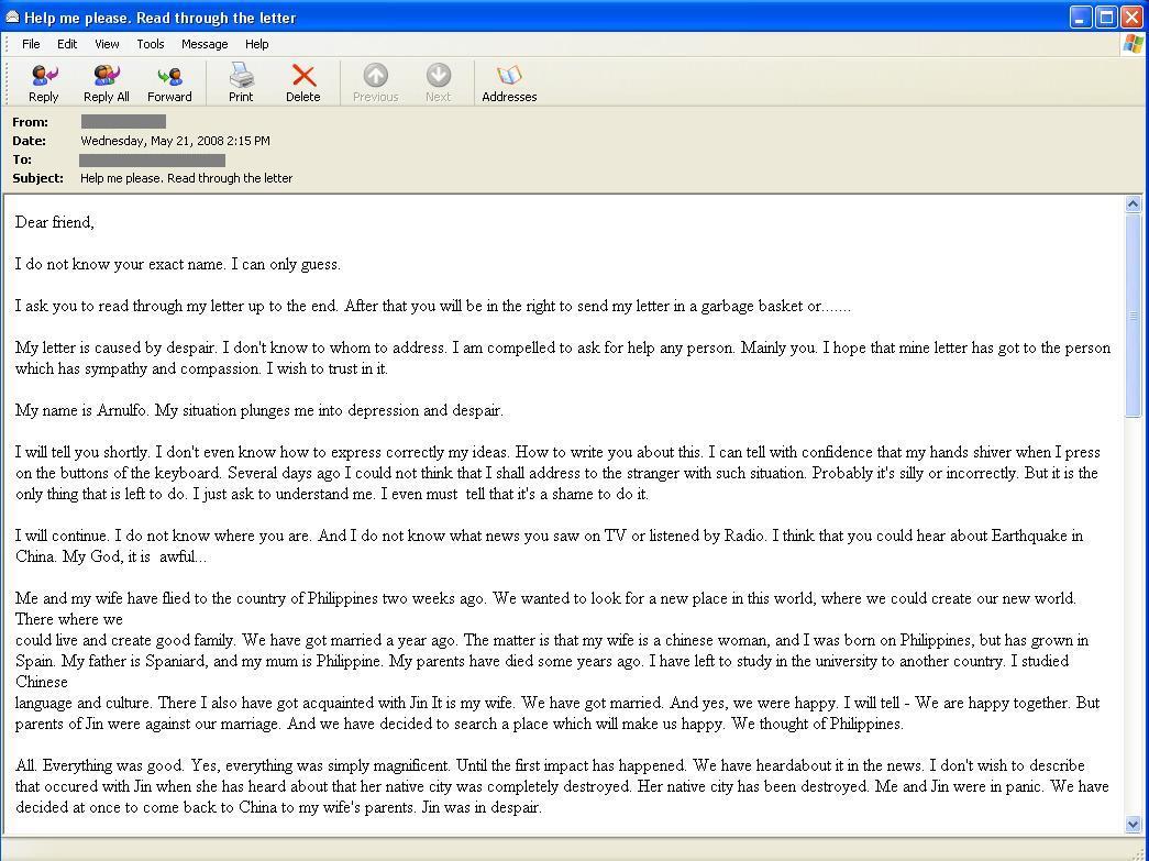 図8 中国で被災した妻へ会うための財政支援を求めるフィリピン人からのメール
