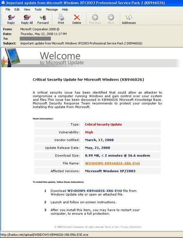 図10 セキュリティ更新プログラムを詐称するスパムメール
