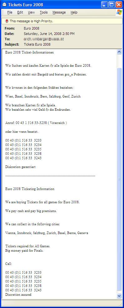 図6. サッカー欧州選手権2008(Euro 2008)チケット転売を試みようとするスパムメール