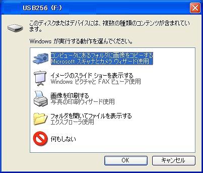 図6. リムーバブルメディアを挿した場合のダイアログ(Windows XP)