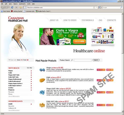 図3 スパムメールが誘導するオンライン薬局