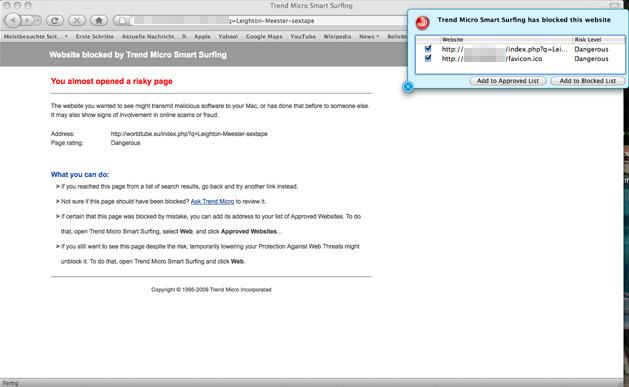 図5. ブロックされたWebサイト