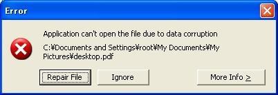 図5 画像ファイル以外の暗号化されたファイルを開くと表示されるメッセージ
