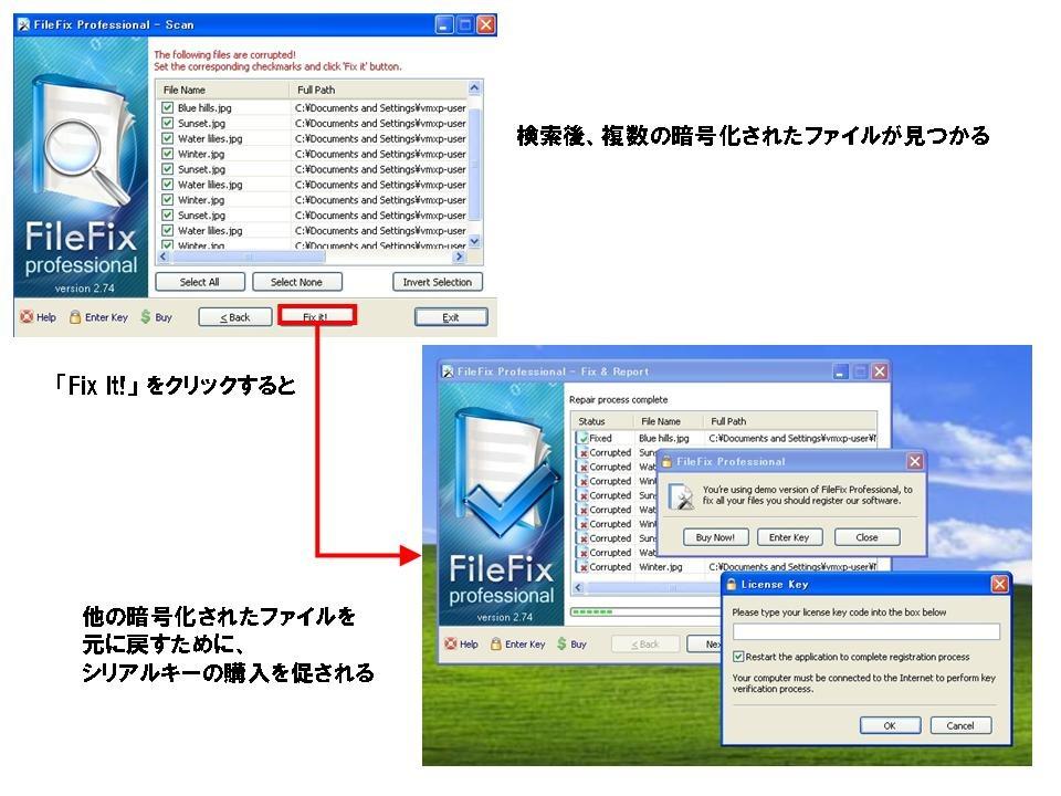 図7 1つだけ暗号化が解除されシリアルキーの購入を促される