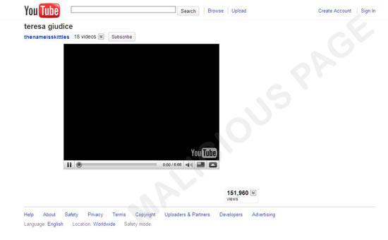 図2:偽の「YouTube」ページ