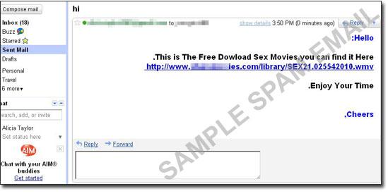 図4:アダルト動画のダウンロードを促すスパムメールの例