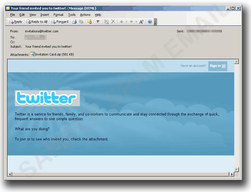 図2:「Twitter」からの招待状を装ったメール