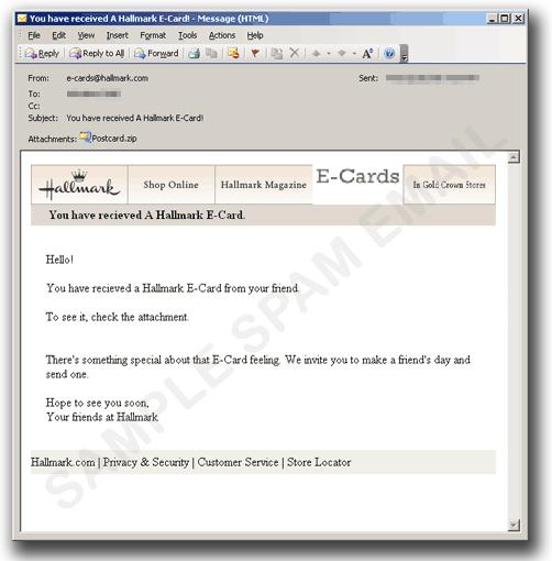 図3:Eカードを装ったメール
