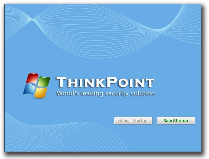 図5:再起動すると、「Think Point」が起動。Windows のロゴを使用している