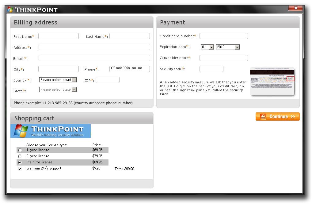 図8:購入画面。個人情報などの入力を要求される