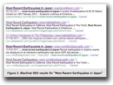 図1:キーワード「Most Recent Earthquake in Japan」で検索した際の不正に操作された検索結果