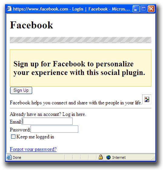 図5:Facebookのアカウント情報の入力を要求する画面