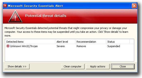 図2:警告表示の画面「Potential threat details」