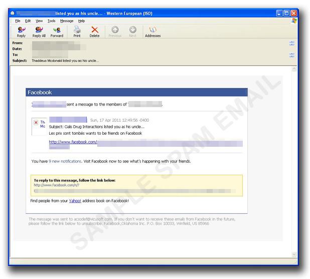 図1:Facebookを装った偽の通知メール