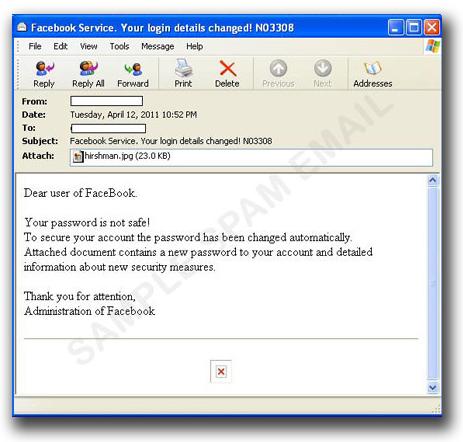 図3:「あなたの Facebook のパスワードは安全ではありません」とユーザを不安に陥れるスパムメール