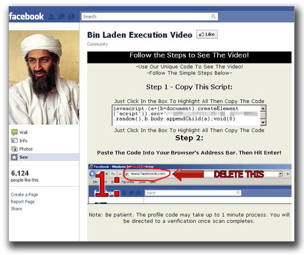 図4:ウサマ・ビンラディン容疑者の「殺害動画」の閲覧手順を示す Facebookページ