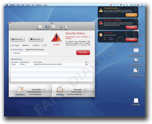 図2:デスクトップに表示された偽のスキャン結果と偽の警告