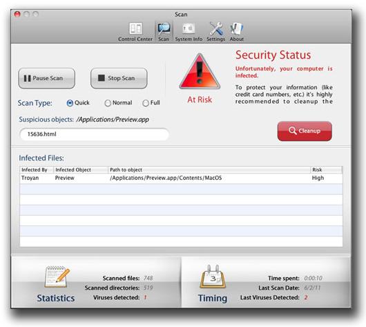 図7:「OSX_DEFMA.B」が表示する偽のスキャン結果