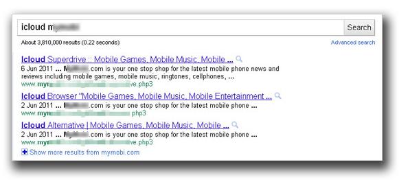 図1:「icloud」を含むキーワードを使ったGoogle検索結果