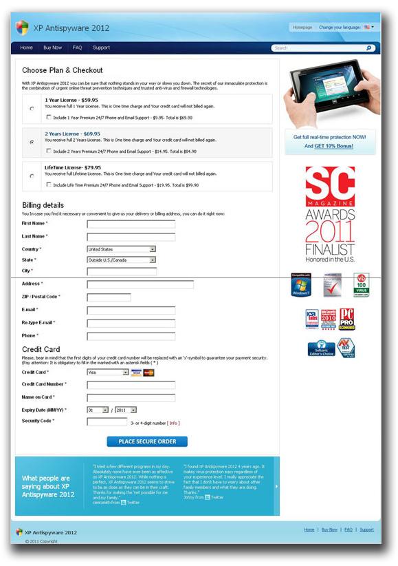図2:偽セキュリティソフト「XP Antispyware 2012」の代金請求先を記入させるフォーム