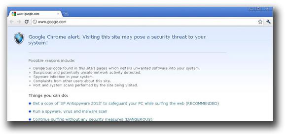 図3:ブロックされたWebブラウザ