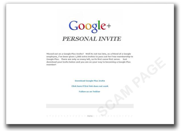 図1:Google+の招待状提供を装う詐欺サイト