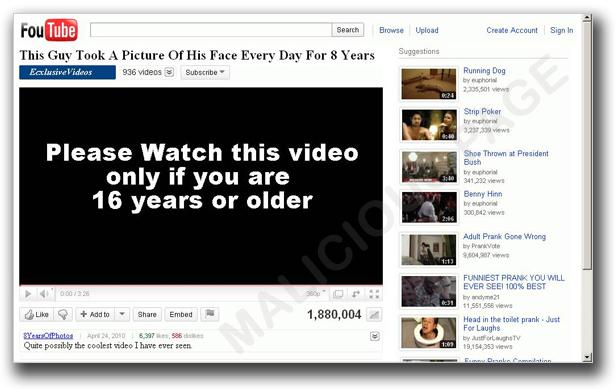 図1:動画投稿サイト「YouTube」に似せた偽ページ。「KOOBFACE」関連する攻撃でよく利用されていた
