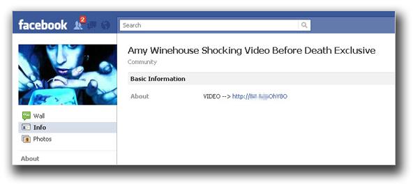 図1:「エイミー・ワインハウスさんの死亡前に撮影された動画を視聴できる」と称するメッセージの例