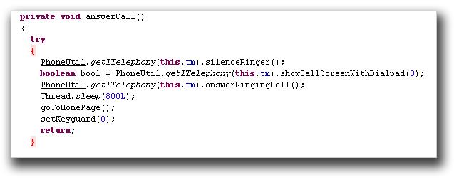 図6:感染Android端末の電話用キーパッドを非表示にするコード