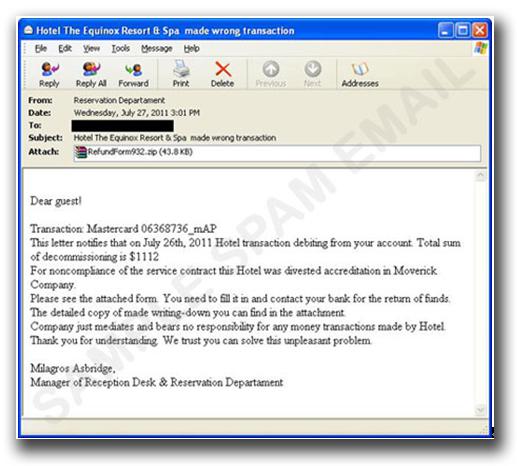 図1:ホテルからのメールを装ったスパムメール