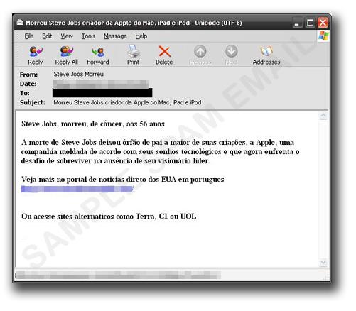 図4:スティーブ・ジョブズ氏死去に便乗したスパムメールの一例