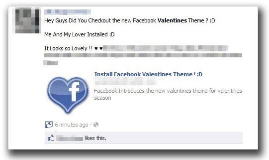 図1:バレンタイン用のテーマについて紹介する投稿