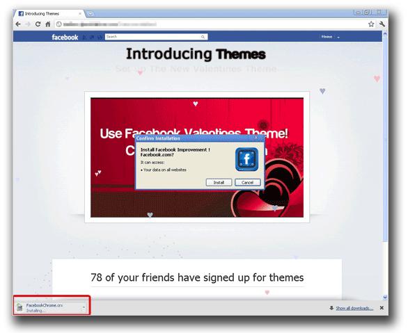 図4:その後、ポップアップメッセージが表示され、ポップアップメッセージ内の「Install」をクリックすると、