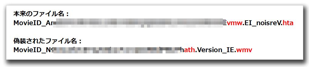 図3:本来のファイル名と偽装されたファイル名