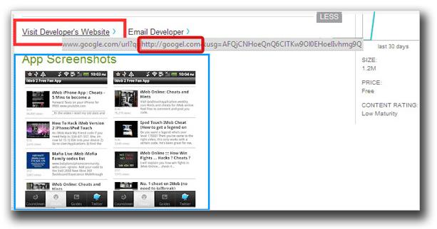 図2:「デベロッパーのウェブサイトにアクセス」のリンク先として、米Google のドメインを装い綴りが微妙に異なるWebページへ誘導