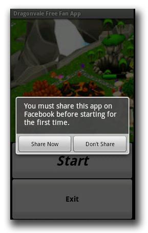 図3:Facebook 上で偽アプリをシェアするように促すポップアップメッセージ