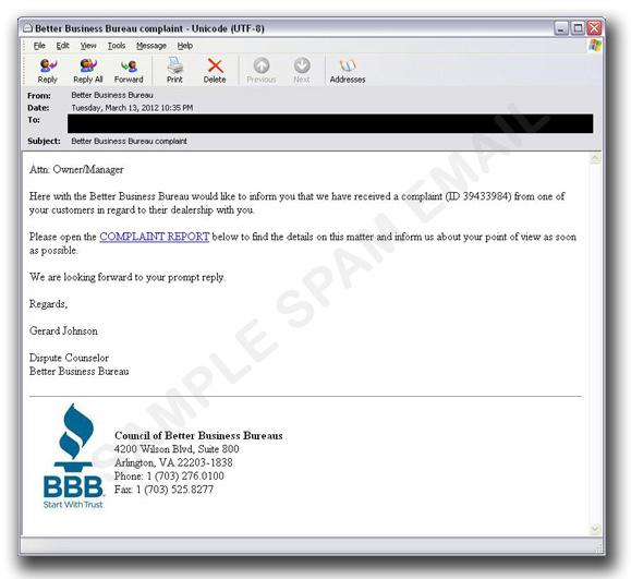 図1:「米商事改善協会」から送信されたように装ったメール