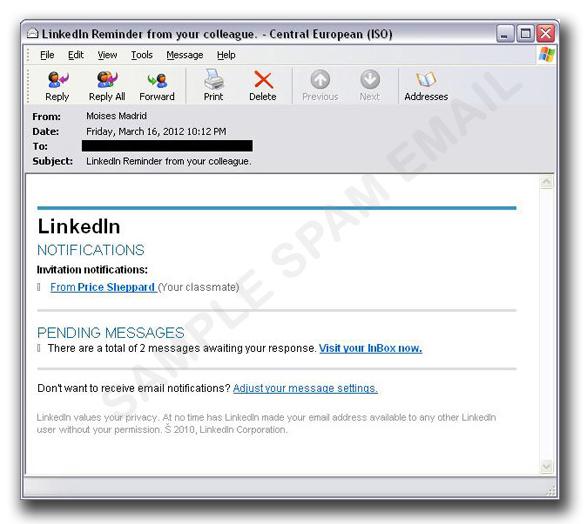 図2:「LinkedIn」から送信されたように装ったメール