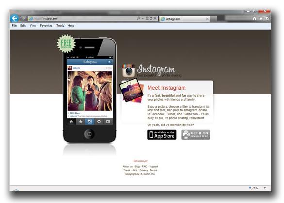 図3:Instagramの正規Webサイト