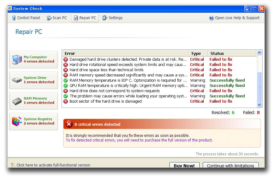 図3:3月に98件の被害報告があった「System Check」の画面