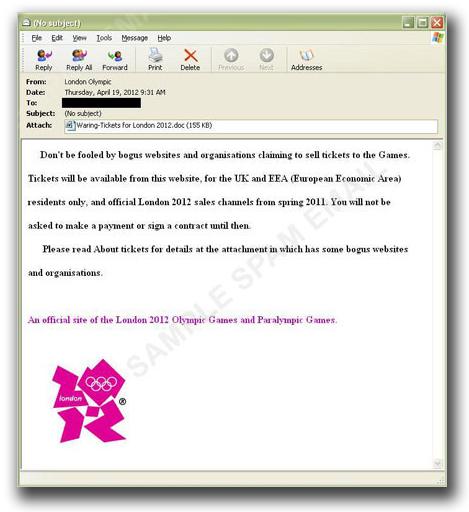 図:ロンドンオリンピックに便乗した注意喚起を装うスパムメール