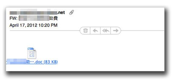 図1:台湾政府機関を標的とする不正なファイルが添付されてメールの一例