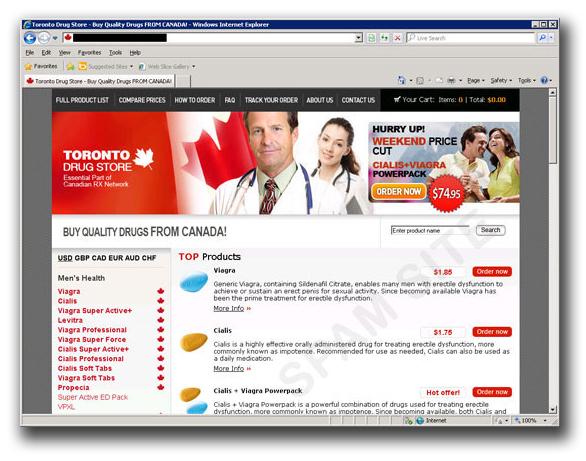 図3:偽のカナダの医薬品販売サイト