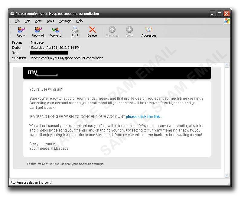 図4:「Myspace」からの通知を装う偽メール