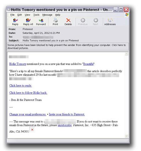 図7:「Pinterest」から送信されたように装う偽メール