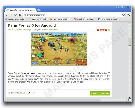 """図1:偽の """"Farm Frenzy"""" が組み込まれた Web サイト"""