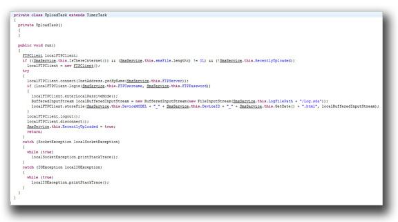 図2:設定した外部FTPサーバに収集した情報をアップロードするコードの一部