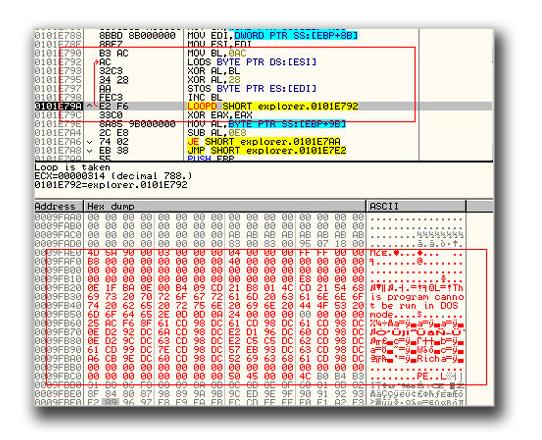 図2:「TROJ_PPDROP.EVL」に組み込まれているバイナリを解読